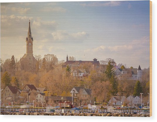 Port Washington Skyline Wood Print
