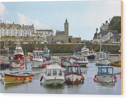 Porthleven Inner Harbour Wood Print