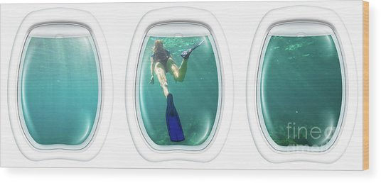 Porthole Windows On Coral Reef Wood Print
