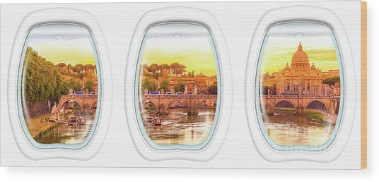 Porthole Windows On Rome Wood Print