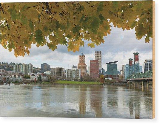 Portland City Skyline Under Fall Foliage Wood Print