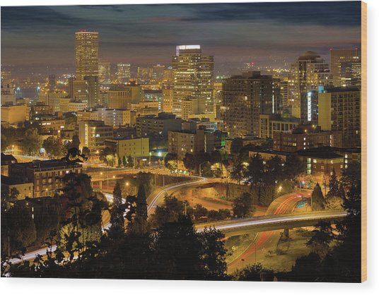 Portland Downtown Cityscape And Freeway At Night Wood Print