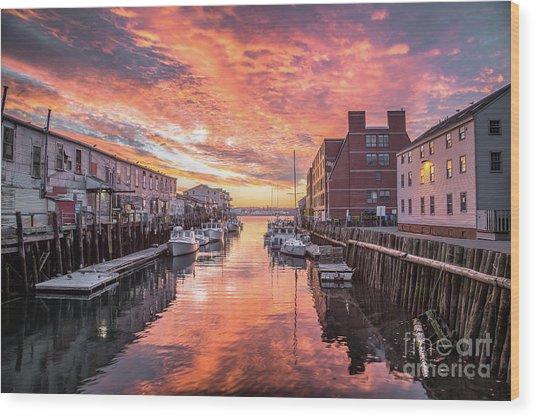 Portland Harbor Sunrise Wood Print