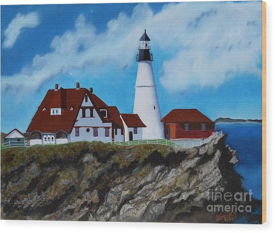 Portland Head Light In Maine Viewed From The South Wood Print