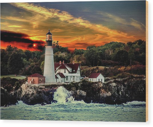 Portland Head Light Wood Print