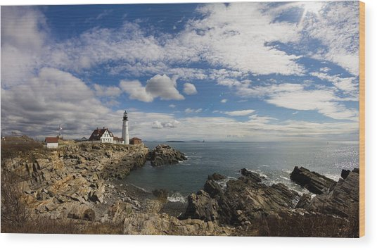 Portland Head Light Seascape Wood Print