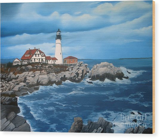 Portland Head Light Wood Print by Tobi Czumak