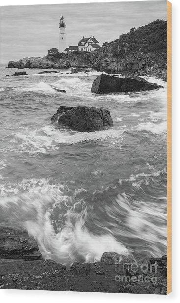 Portland Head Light Under Heavy Skies  -88356 Wood Print