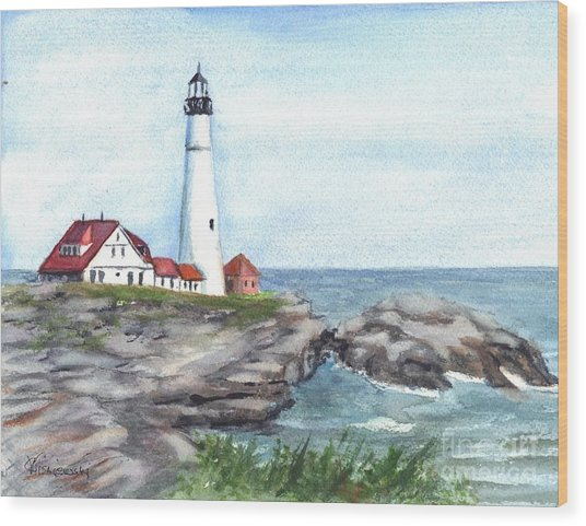 Portland Head Lighthouse Maine Usa Wood Print
