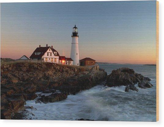 Portland Head Lighthouse Sunrise Wood Print