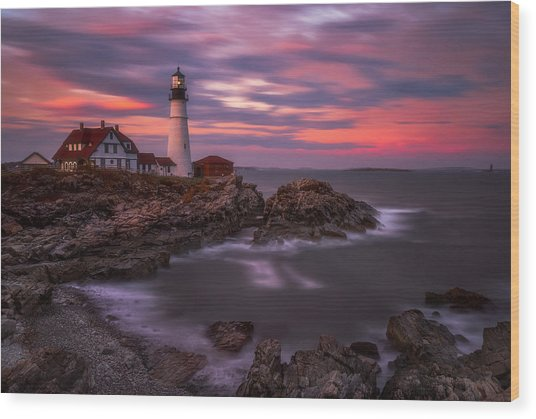 Portland Head Sunset Wood Print