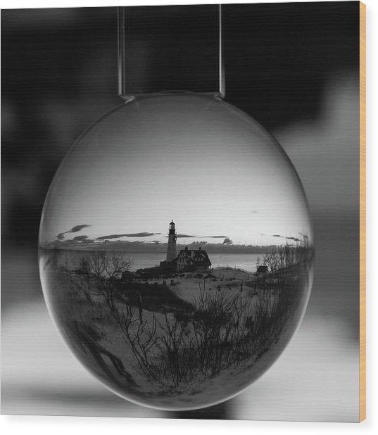 Portland Headlight Globe Wood Print