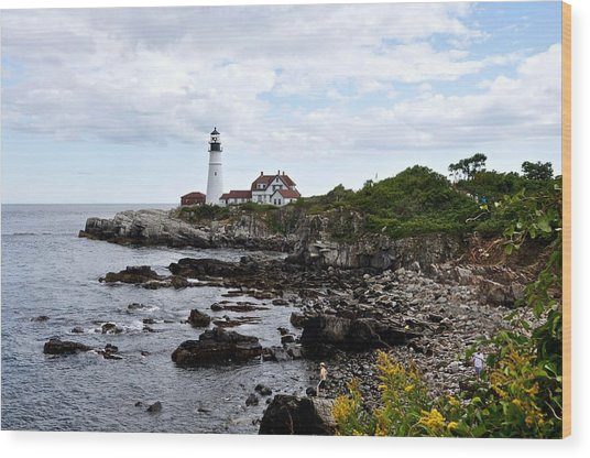 Portland Headlight II Wood Print