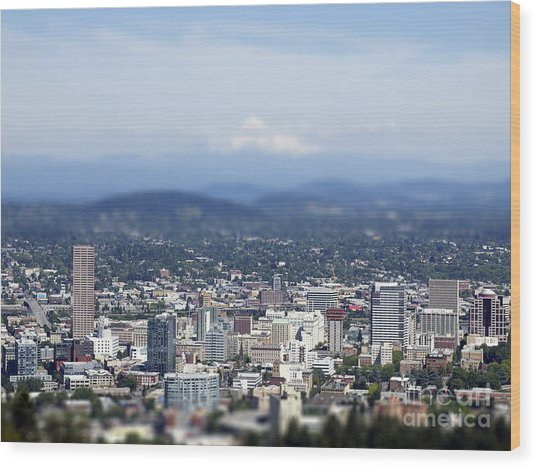 Portland In Perspective Wood Print