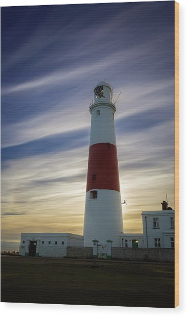 Portland Lighthouse At Sunset Wood Print