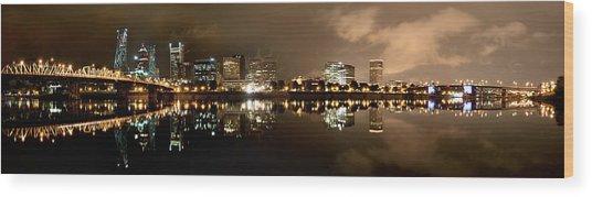 Portland Panorama Wood Print