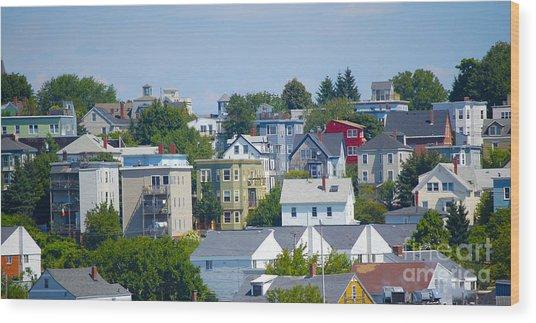 Portland Rooftops Wood Print by Faith Harron Boudreau