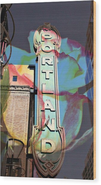 Portland Sign Wood Print by Cathie Tyler