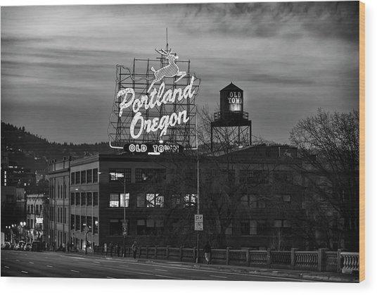 Portland Signs Wood Print