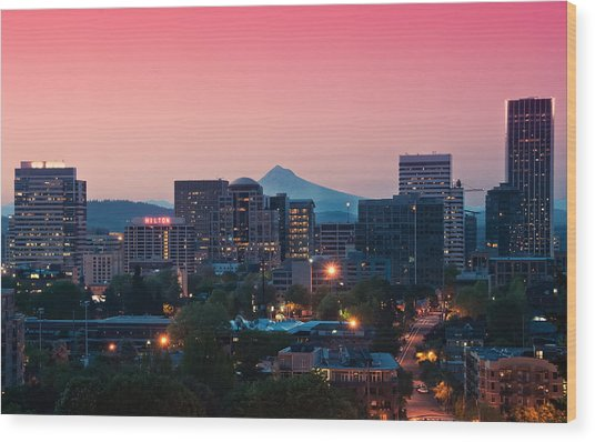 Portland Sunrise Wood Print