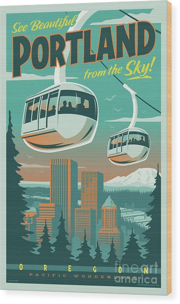 Portland Poster - Tram Retro Travel Wood Print