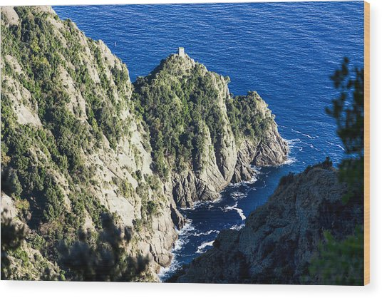 Wood Print featuring the photograph Portofino Ancient Tower At Cala Dell'oro Bay by Enrico Pelos