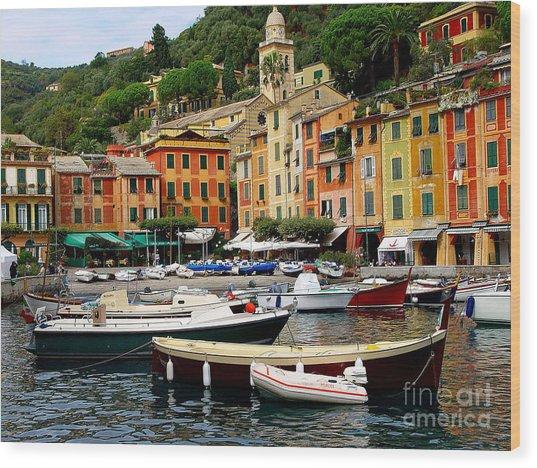 Portofino Italy Wood Print by Nancy Bradley