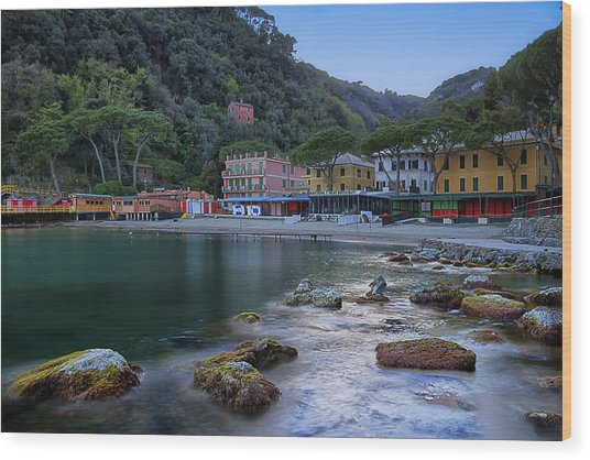 Portofino Mills Valley With Paraggi Bay And Beach Wood Print