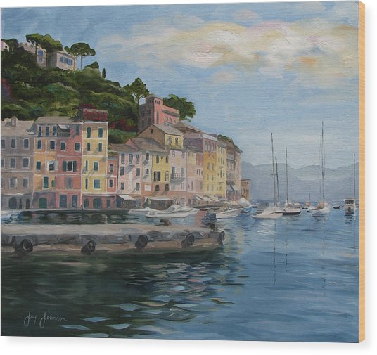 Portofino Port Wood Print by Jay Johnson
