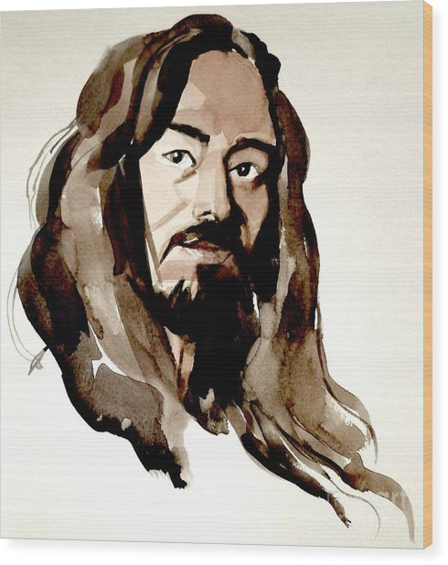 Watercolor Portrait Of A Man With Long Hair Wood Print