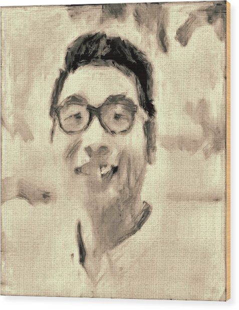 Portrait In Brown Sepia On Canvas In Oil Just The Underpainting Wood Print by MendyZ