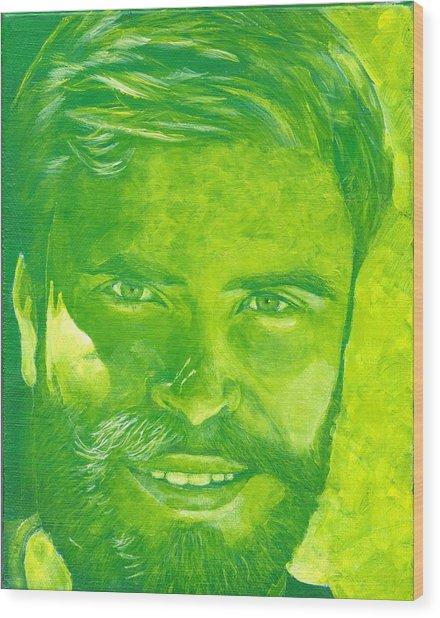 Portrait In Green Wood Print