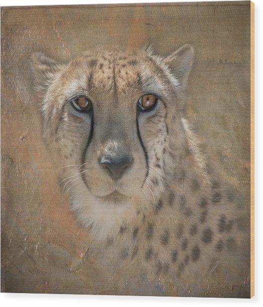 Portrait Of A Cheetah Wood Print