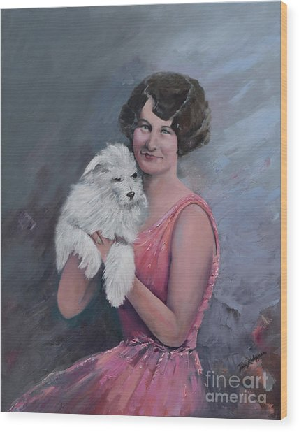 Maggie And Caruso -portrait Of A Flapper Girl Wood Print