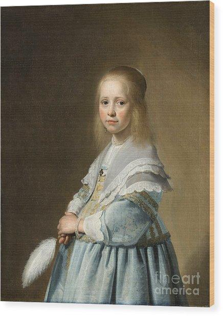 Portrait Of A Girl Dressed In Blue By J. Cornelisz Wood Print