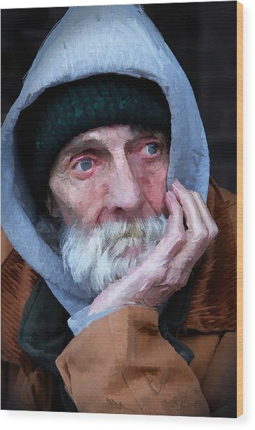 Portrait Of A Homeless Man Wood Print
