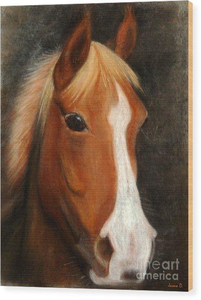 Portrait Of A Horse Wood Print