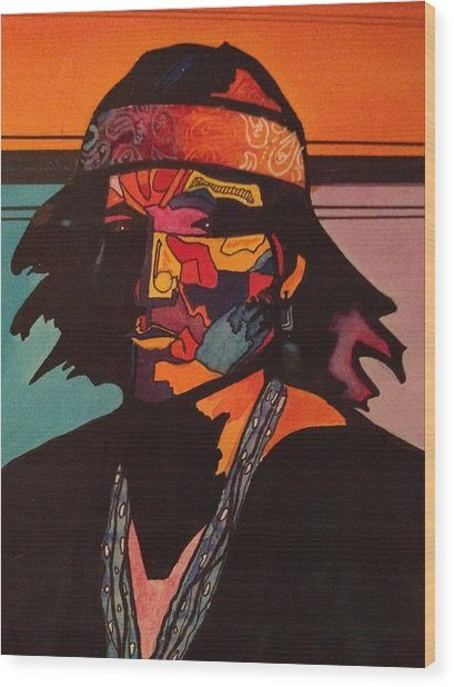Portrait Of A Native American Indian Wood Print by Jeff Knott