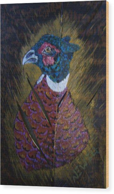 Portrait Of A Ringneck Wood Print by Chris Newell