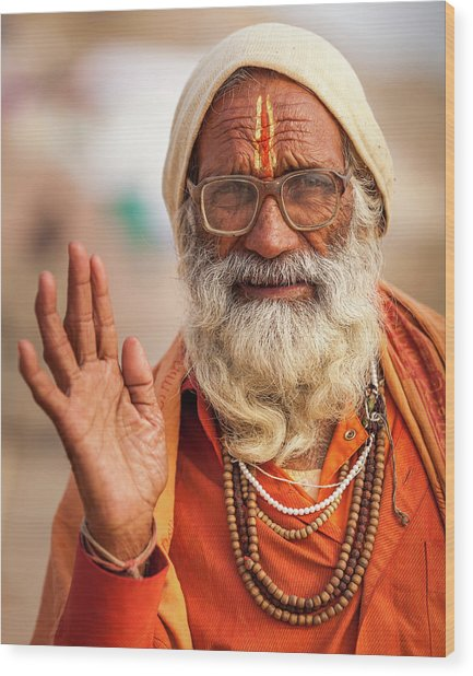 Portrait Of A Sadhu, Varanasi, India Wood Print