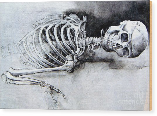 Portrait Of A Skeleton Wood Print