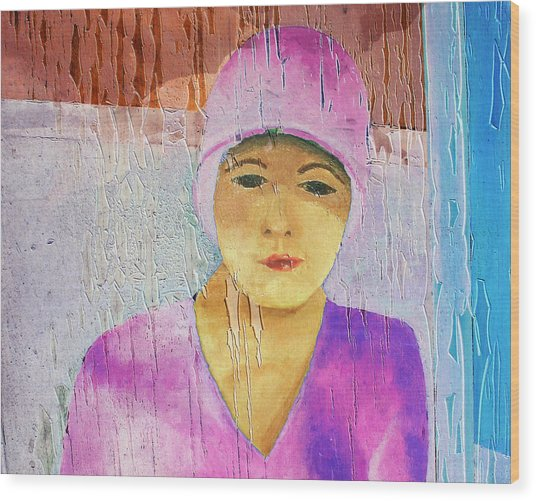 Portrait Of A Woman On A Downtown Wall Wood Print