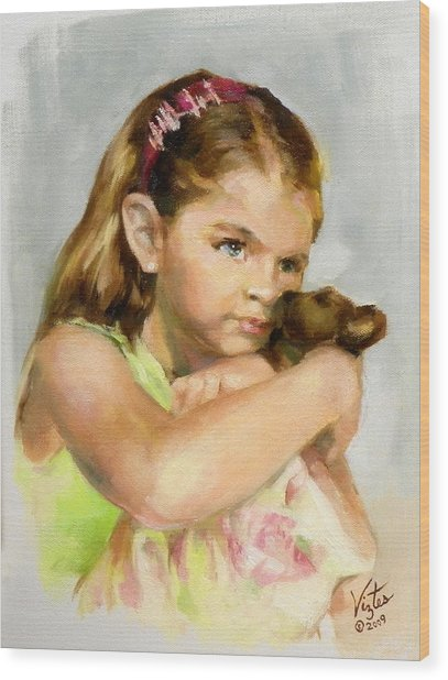 Portrait Of A Young Girl With Toy Bear Wood Print by Liz Viztes