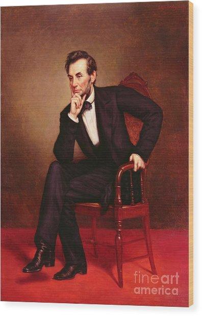 Portrait Of Abraham Lincoln Wood Print