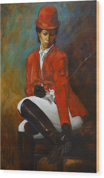 Portrait Of An Equestrian Wood Print