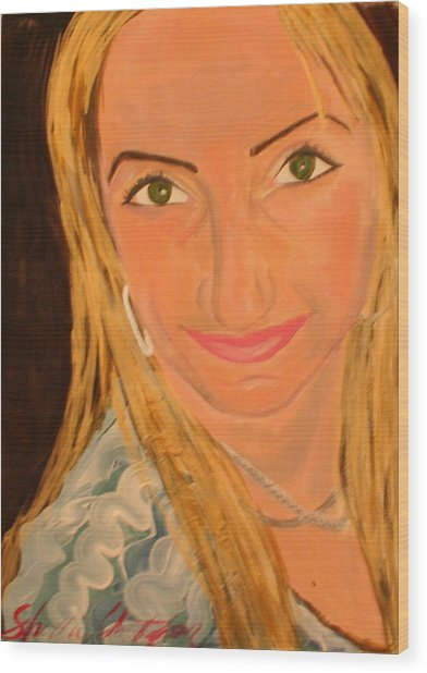 Portrait Of Artists Agnes  Wood Print by Shellie Gustafson