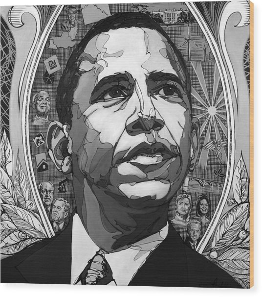 Portrait Of Barak Obama Wood Print