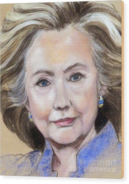 Pastel Portrait Of Hillary Clinton Wood Print