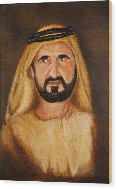 Portrait Of His Highness Sheikh Mohammed Bin Rashid Al Maktoum - Ruler Of Dubai Wood Print by Remy Francis