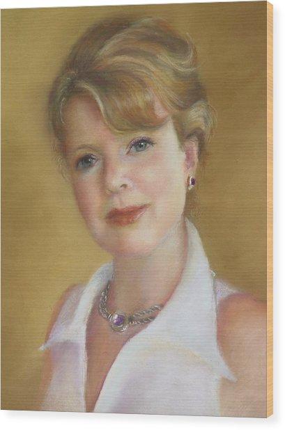 Portrait Of Jeanie Wood Print by Melanie Miller Longshore